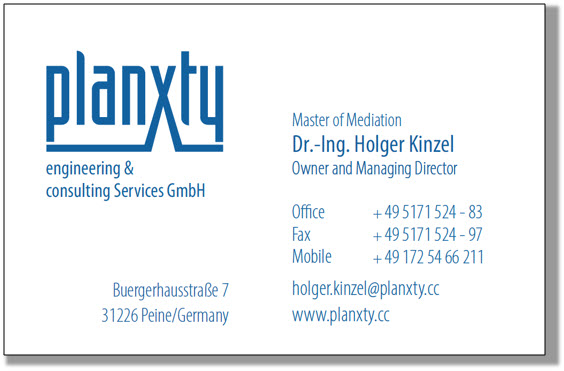 Impressum Legal Notice Planxty Engineering Consulting